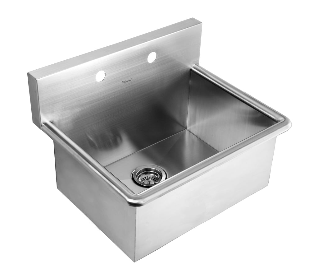 Noah's Collection Brushed Stainless Steel Commercial Drop-in or Wall Mount Utility Sink