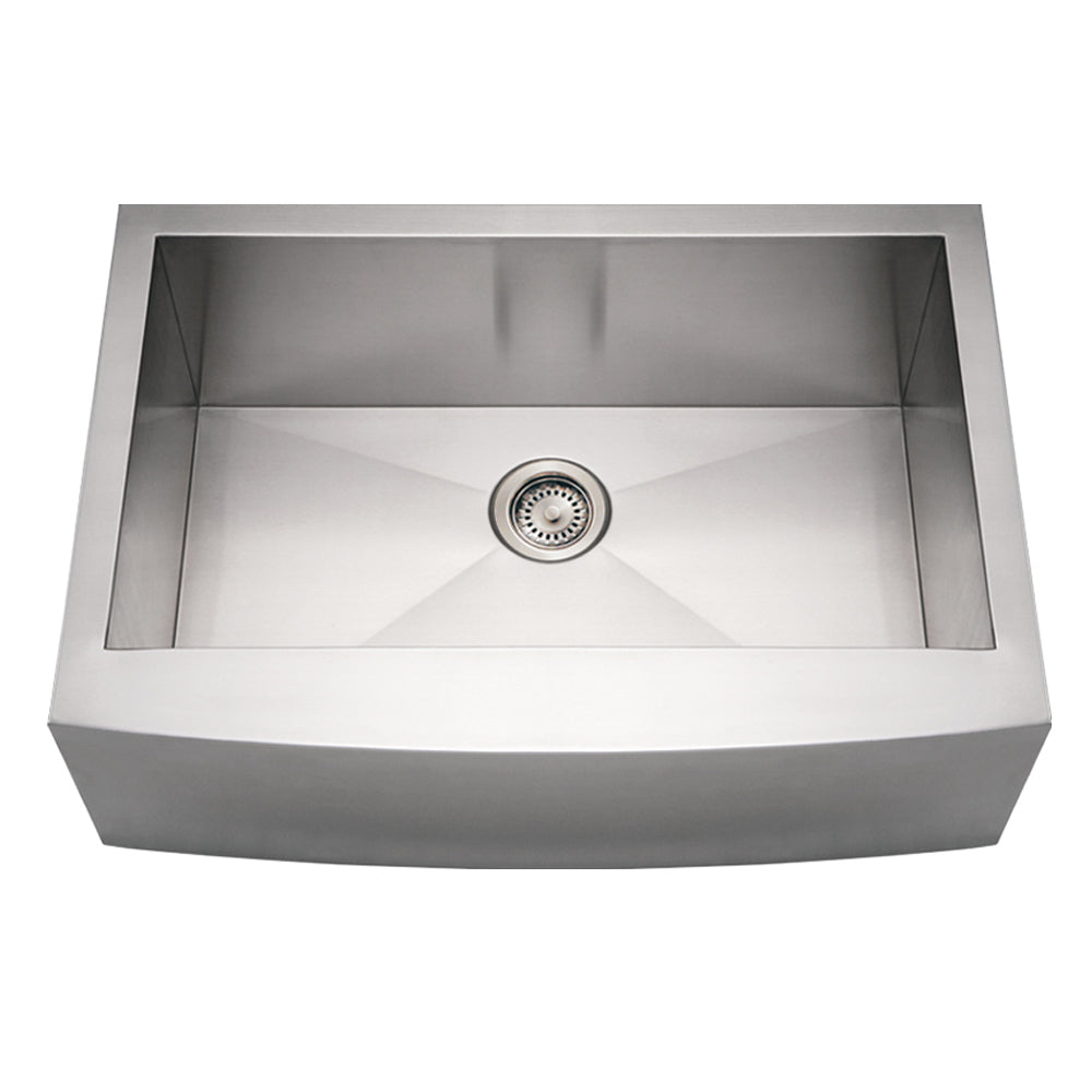 Noah's Collection Brushed Stainless Steel Commercial Single Bowl Sink with an Arched Front Apron