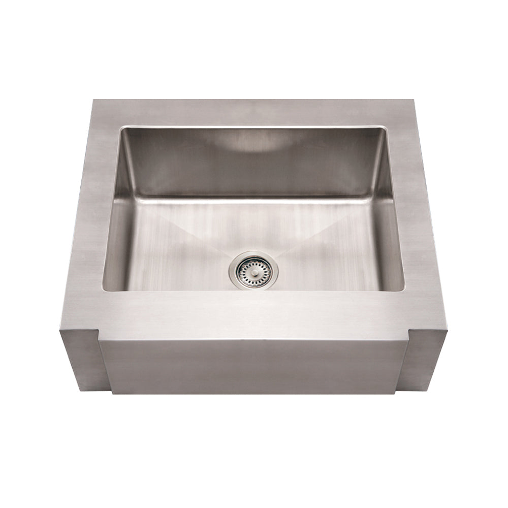 Noah's Collection Brushed Stainless Steel Commercial Single Bowl Sink with a Decorative Notched Front Apron