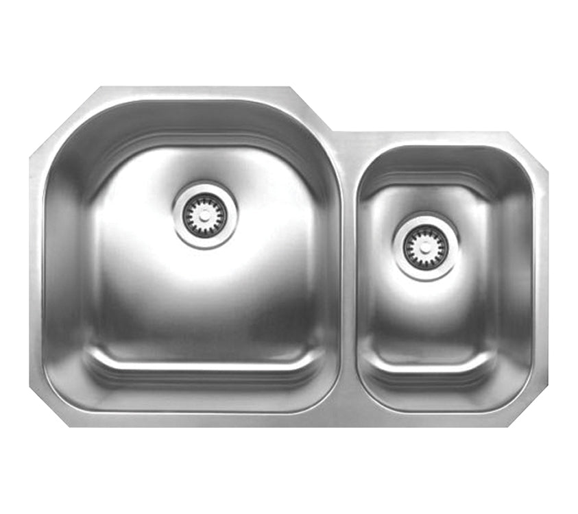 Noah's Collection Brushed Stainless Steel Double Bowl Undermount Sink