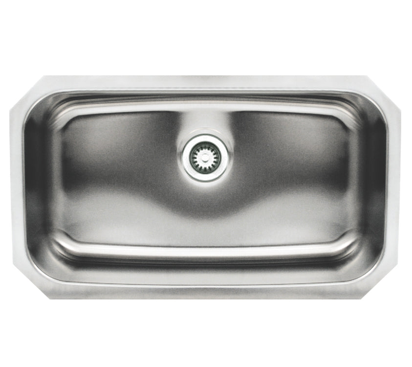 Noah's Collection Brushed Stainless Steel Rectangular Single Bowl Undermount Sink