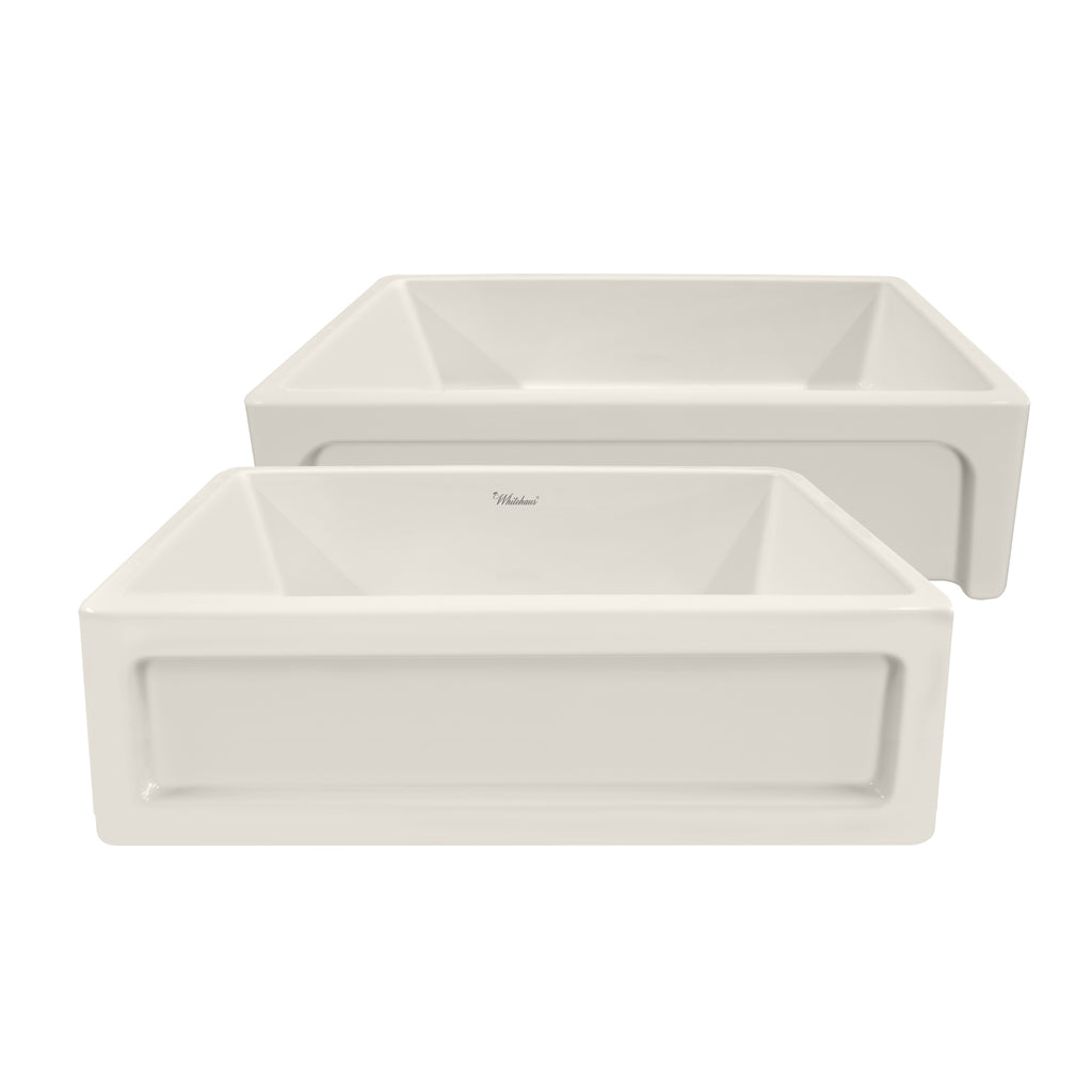 "Shakerhaus 33"" Reversible Kitchen Fireclay Sink with Shaker Design / Elegant Beveled Front Apron"