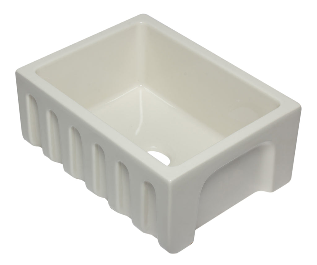 ALFI brand AB2418HS 24 inch Reversible Smooth / Fluted Single Bowl Fireclay Farm Sink