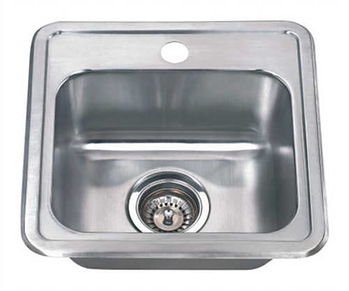 Wells Sinkware 15-inch 22-gauge Drop-in Single Bowl Stainless Steel Bar Sink