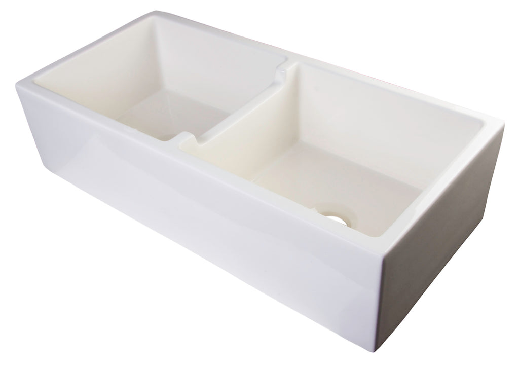 "ALFI brand AB3918DB 39"" Smooth Apron Thick Wall Fireclay Double Bowl Farm Sink"