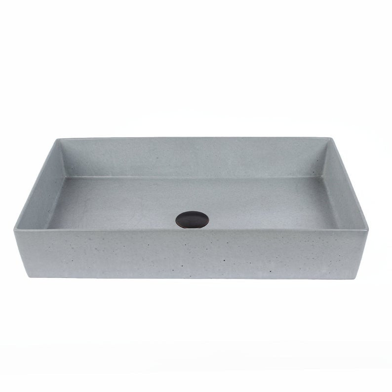 "Concrete Vessel Sink - Rectangle Design with 3/8"" Thick Exterior Wall."