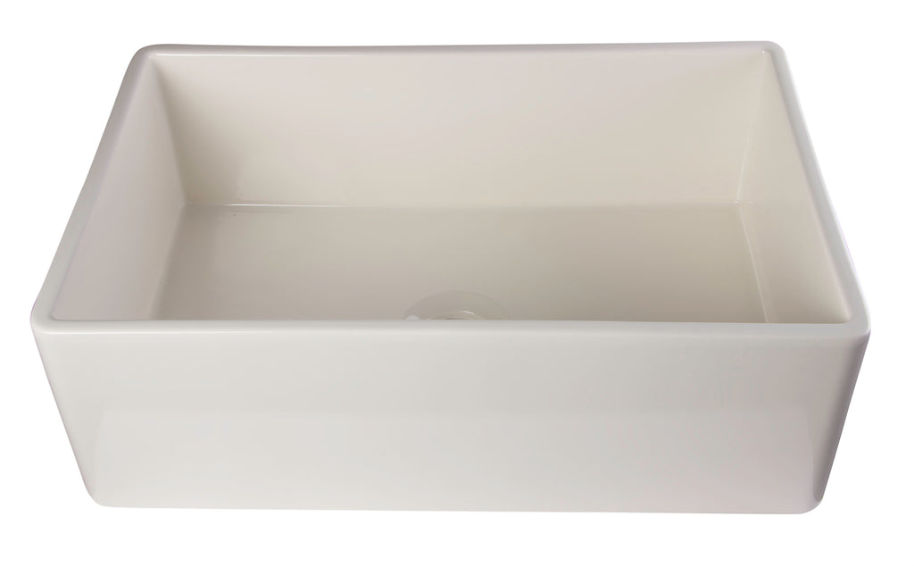 "ALFI brand AB510 30"" Contemporary Smooth Apron Fireclay Farmhouse Kitchen Sink"