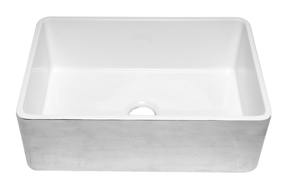 ALFI brand ABHP3020SB Hammered Platinum/Fluted 30 inch Reversible Single Fireclay Farmhouse Kitchen Sink