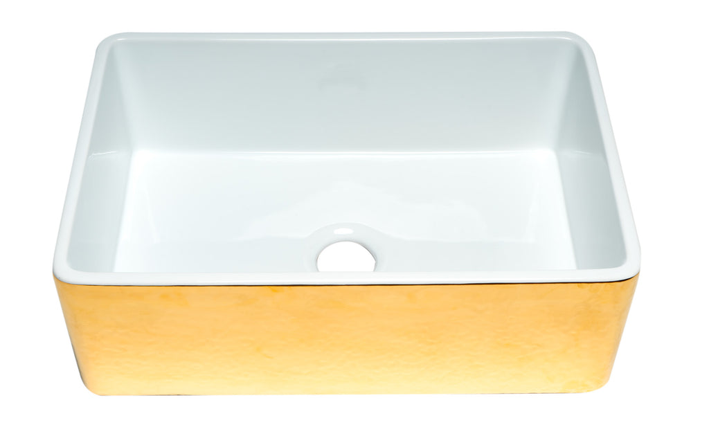 ALFI brand ABHG3020SB Hammered Gold/Fluted 30 inch Reversible Single Fireclay Farmhouse Kitchen Sink