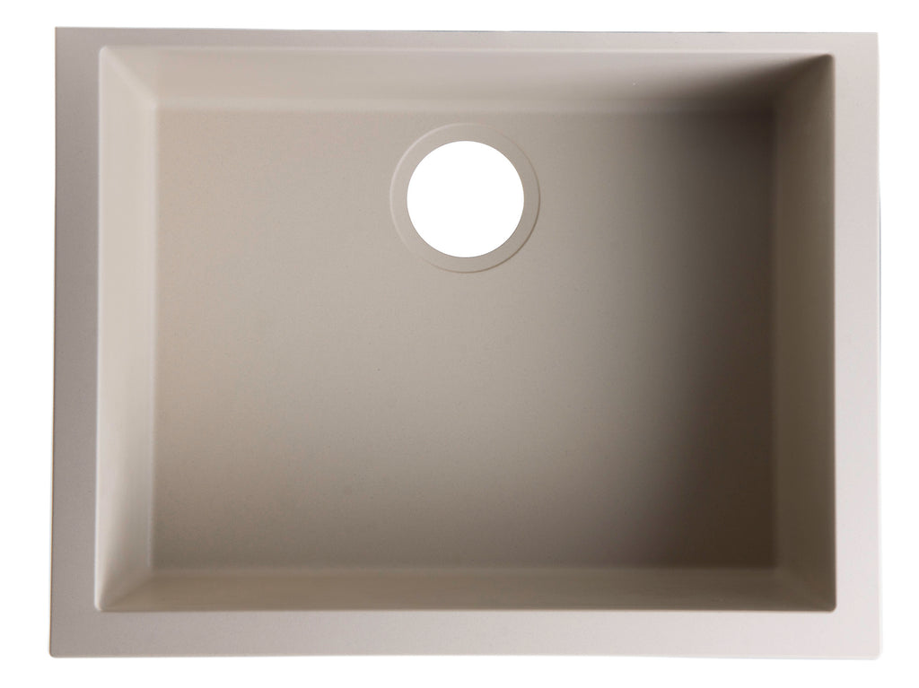 "ALFI brand AB2420UM 24"" Undermount Single Bowl Granite Composite Kitchen Sink"