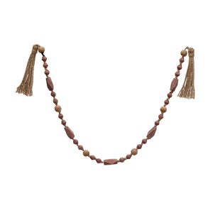 Paulownia Wood Bead Garland with Tassels, Rose Color & Natural