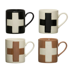 Handmade Stoneware Mug w/ Wax Relief Swiss Cross, 4 Colors (Each Varies)
