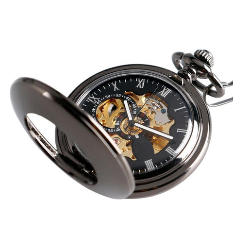 Black Automatic Vintage Half Hunter Pocket Watch - Black belt - Pocket Watch Net