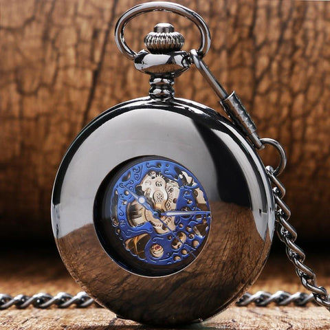 Black Mechanical  Half Hunter  -  Blue Peephole - Pocket Watch Net