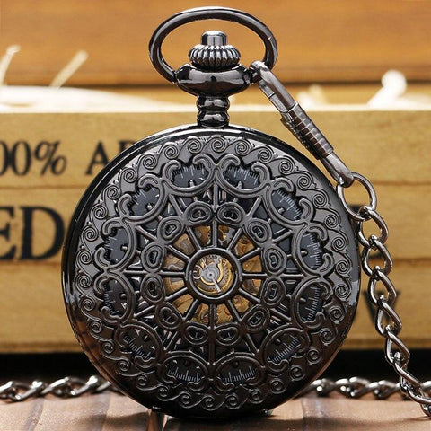 Black Mechanical Half Hunter Pocket Watch  - Basilica - Pocket Watch Net