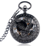 Black Steampunk Mechanical Pocket Watch - Royal Eagle - Pocket Watch Net