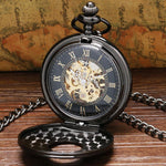Black Vintage Mechanical Pocket Watch - Johnson's Classy - Pocket Watch Net