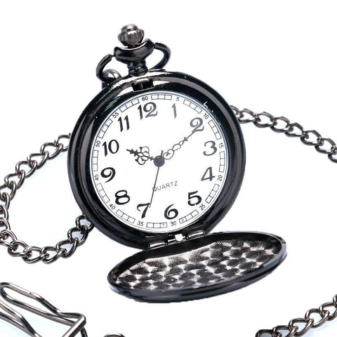 Black Vintage Quartz Full Hunter Pocket Watch - Flat Black - Pocket Watch Net