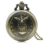 Bronze Full Hunter Quartz Pocket Watch - US Air Force - Pocket Watch Net