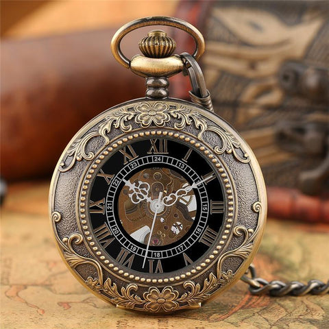 Bronze Half Hunter Mechanical Pocket Watch- Gloria - Pocket Watch Net