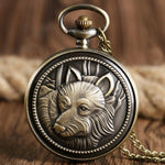 Bronze Quartz Full Hunter Pocket Watch - American Wolf - Pocket Watch Net