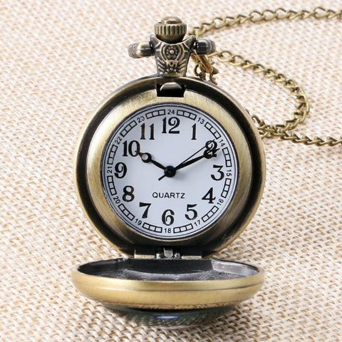 Bronze Quartz Full Hunter Pocket Watch - Alice and Roger - Pocket Watch Net