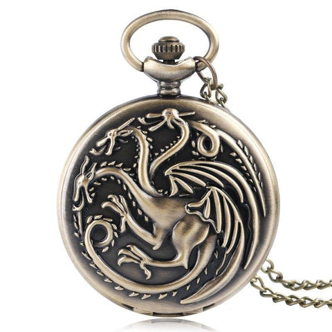 Bronze Quartz Full Hunter Pocket Watch  - Lernaean Hydra - Pocket Watch Net
