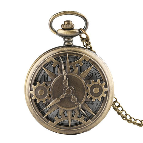 Bronze Steampunk Quartz Pocket Watch - Meka - Pocket Watch Net