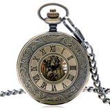 Bronze vintage Half Hunter Mechanical Pocket Watch - Mecha Peaky - Pocket Watch Net