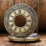 Bronze Vintage Half Hunter Quartz Pocket Watch - Peaky - Pocket Watch Net