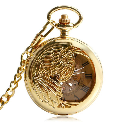 Gold Automatic Pocket Watch - Golden Bird - Pocket Watch Net