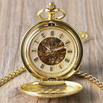 Gold Mechanical Double Hunter Pocket Watch - Golden Butterfly - Pocket Watch Net