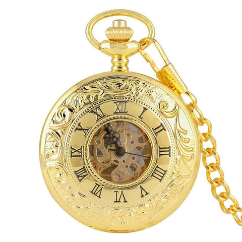 Gold Mechanical Vintage Pocket Watch - Golden Wings - Pocket Watch Net