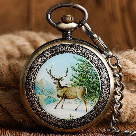 Mechanical Full Hunter Pocket Watch - Wooded Nature - Pocket Watch Net