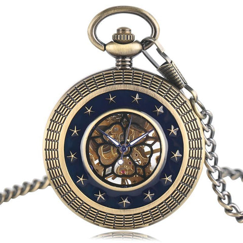 Men's Mechanical Half Hunter Pocket Watch - Golden Stars - Pocket Watch Net