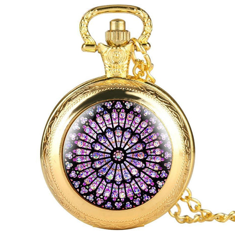Modern Quartz Full Hunter Pocket Watch - Hypnotic Stained Glass - Pocket Watch Net