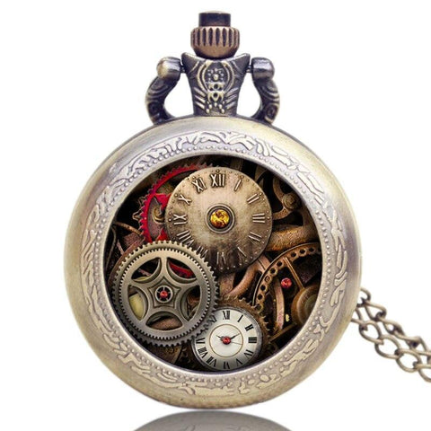 Modern Steampunk Quartz Full Hunter Pocket Watch - Gearpunk - Pocket Watch Net
