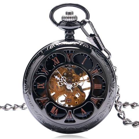 Silver Toned Mechanical Half Hunter Pocket Watch - Black Flower - Pocket Watch Net
