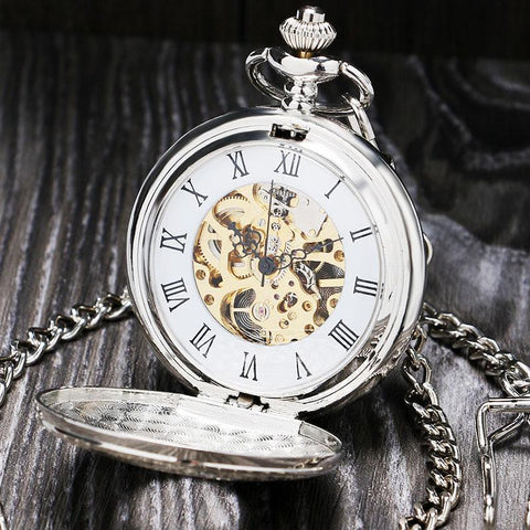 Silver Vintage Mechanical Pocket Watch - Silverpunk - Pocket Watch Net