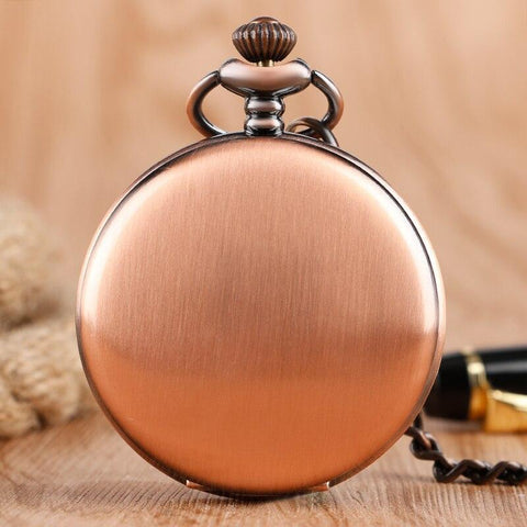 Vintage Copper Quartz Full Hunter Pocket Watch - Copper Clap - Pocket Watch Net