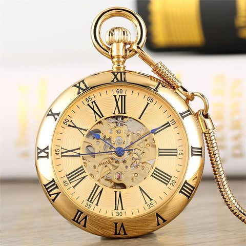 Vintage Gold Automatic Open Face Pocket Watch - Centurion - Pocket Watch Net