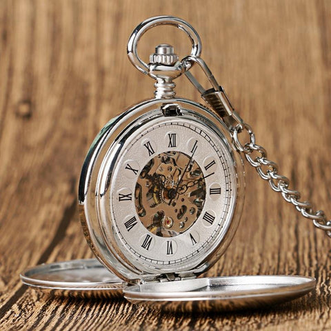 Vintage Mechanical Double Hunter Pocket Watch - Silver Butterfly - Pocket Watch Net