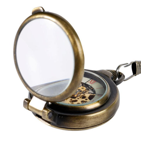 Vintage Open Face Mechanical Pocket Watch - Skeleton Magnifier - Pocket Watch Net