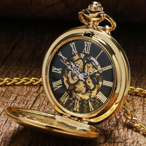 Vintage Steampunk Mechanical Full Hunter Pocket Watch- Golden Spot - Pocket Watch Net