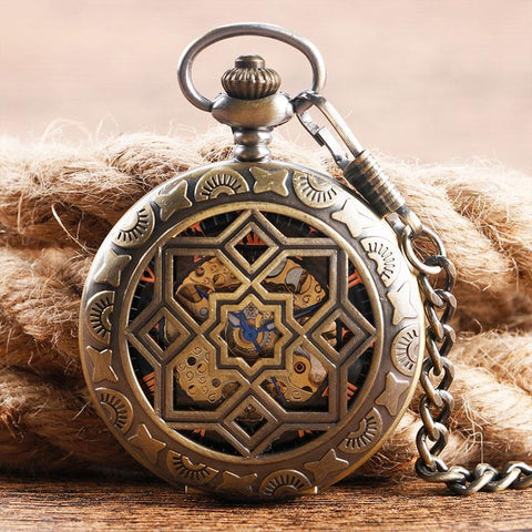 Women's Bronze Mechanical Pocket Watch - Merkabah - Pocket Watch Net