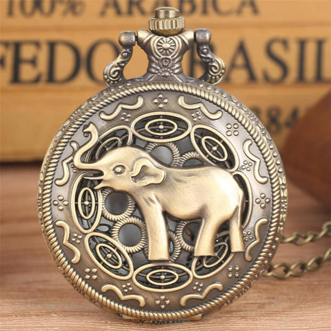 Women's Bronze Quartz Full Hunter Pocket Watch - Jumbo - Pocket Watch Net