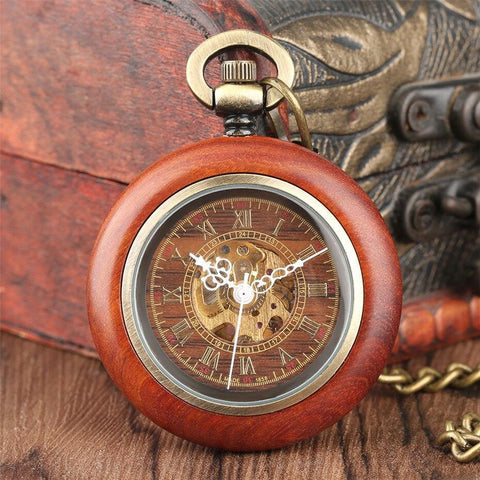 Wood Automatic Open Face Pocket Watch  - Brownie - Pocket Watch Net