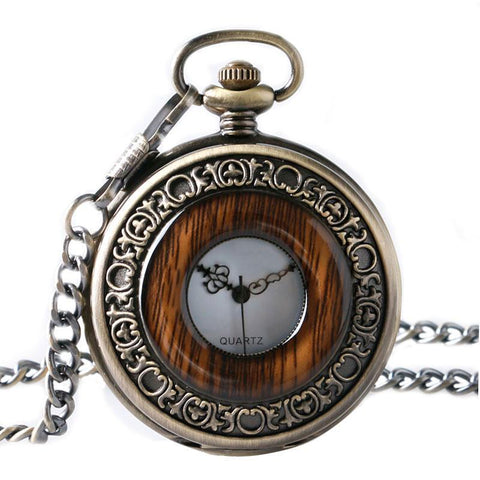 Wood Mechanical Half Hunter Pocket Watch - Woodie - Pocket Watch Net