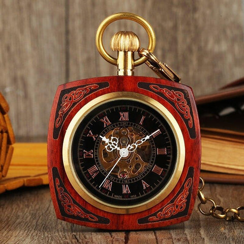 Wood Mechanical Open Face Pocket Watch - RobinWood - Pocket Watch Net