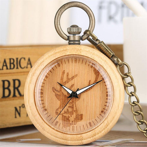 Wood Open Face Quartz Pocket Watch - Deer Wood - Pocket Watch Net